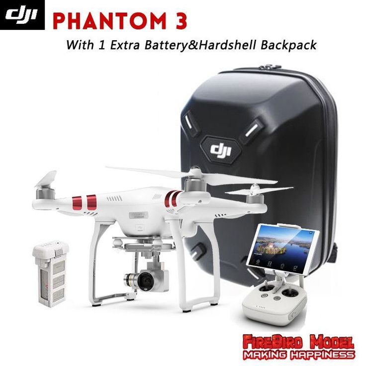 DJI Phantom 3 Standard with Extra Battery Original Hardshell Backpack FPV Drone built in 2.7K HD camera GPS system live view