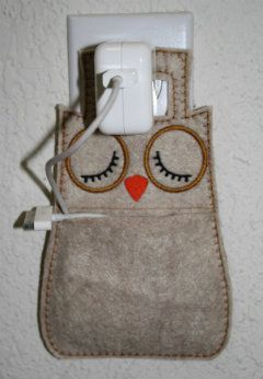 Owl Charging Pocket. #felt #practical this could be enlarged too to be a pocket for the car, door, chair etc.... anywhere you need to have a bit of tidy storage.