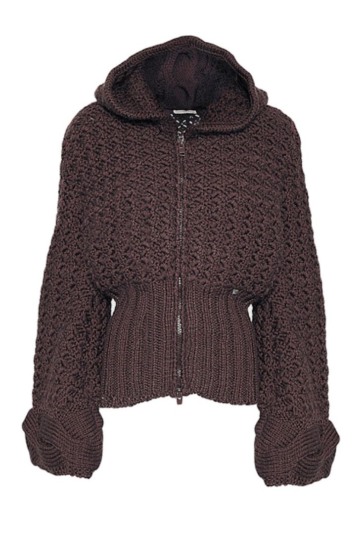 Cod 140  hand made Jacket with hood - brown