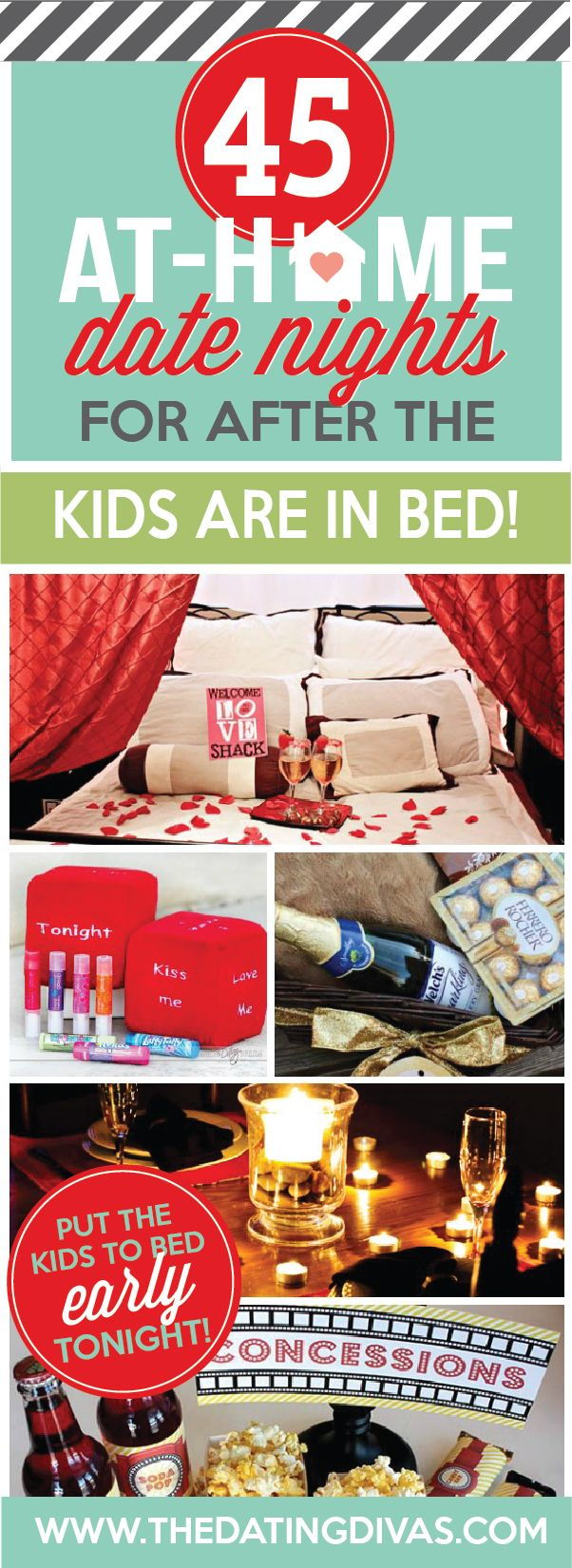 Date night ideas that you can do from home after the kids are in bed. Date night ideas range from silly to sexy! I SO need this! www.TheDatingDivas.com