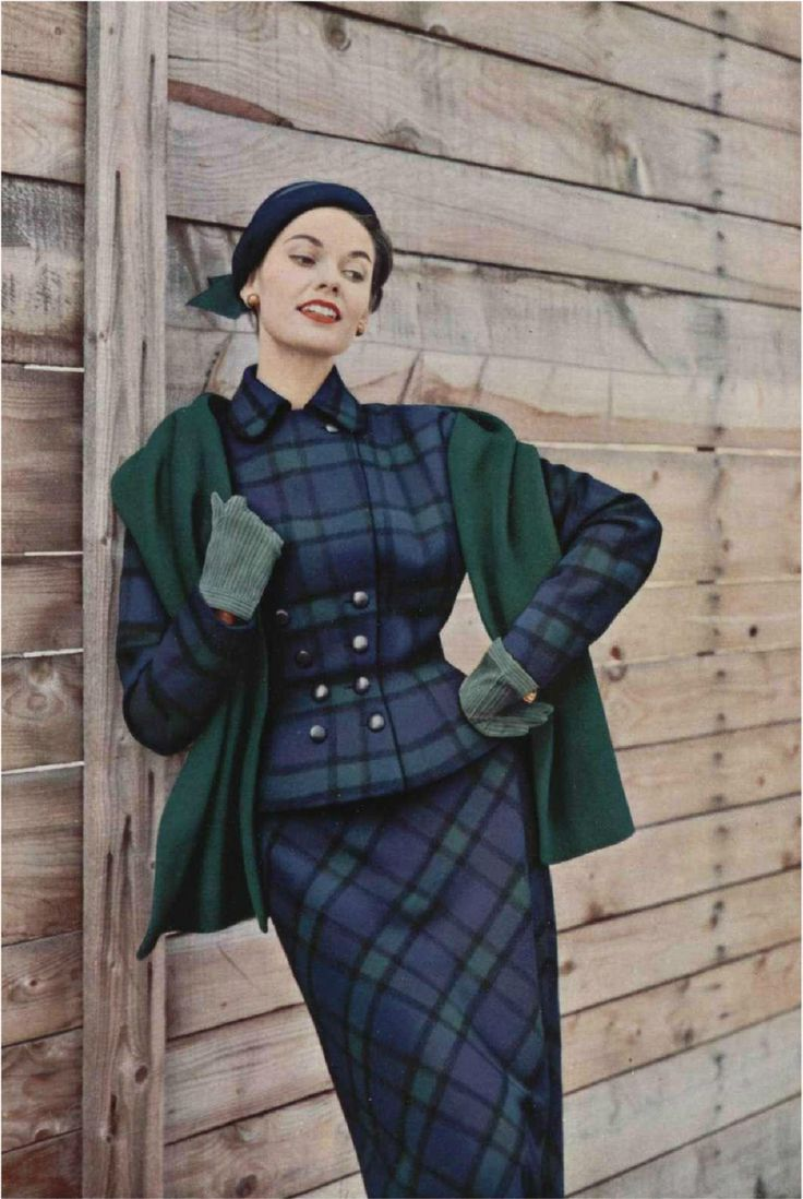 Plaid Suit L'Officiel 1953 plaid tartan suit dress skirt jacket wasp waist nipped double breasted peplum early 50s model magazine blue green