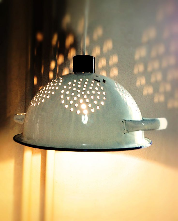 Lamps made out of old kitchen stuff