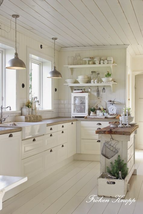 white kitchen - I like everything but the floors