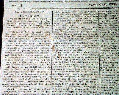 QUASI-WAR United States vs. France Napoleon Bonaparte NAVAL 1798 Old Newspaper