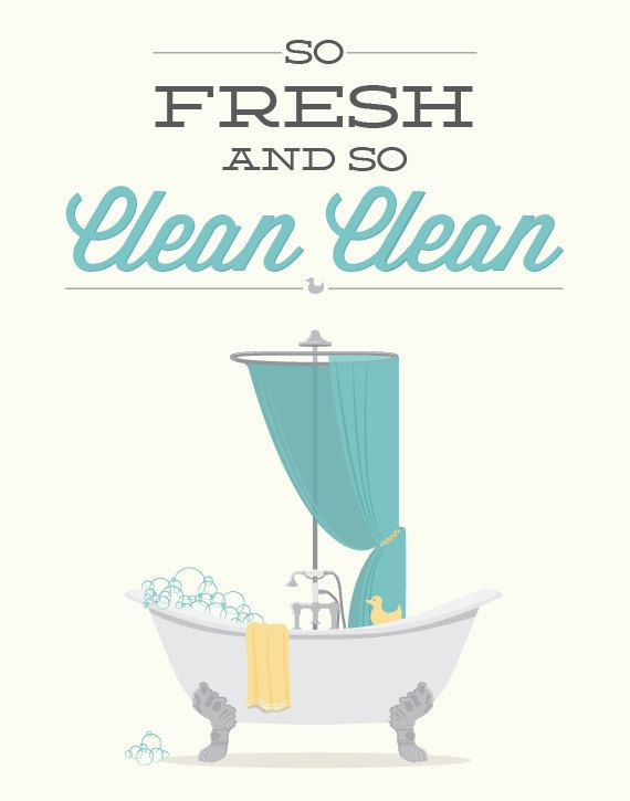 Bathroom Print  So Fresh and so Clean 11x14 Poster by noodlehug, $25.00