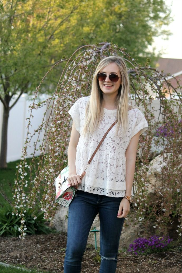 modest style, white lace top, skinny dark wash denim, cognac sandals, espadrille sandals, floral bag, cross body bag, kohl's bag, nordstrom, sole society espadrilles, spring style, spring looks, fossil watch