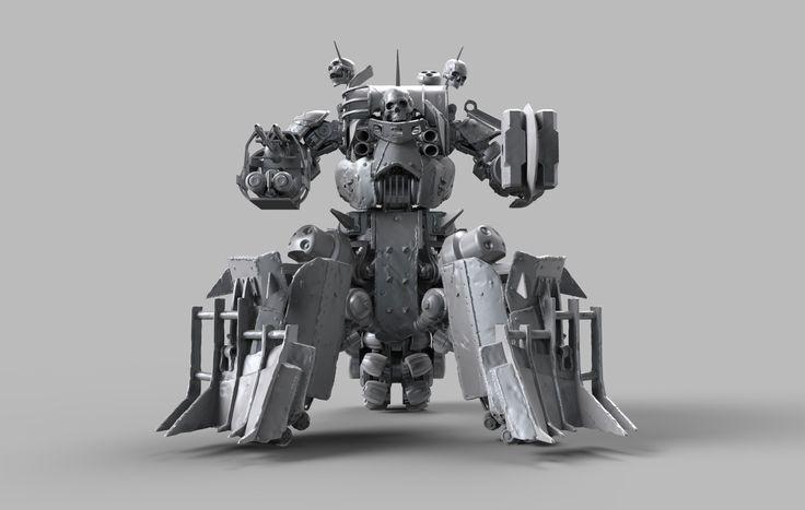 Fallout 4 Automatron DLC Sentry Bot Wasteland Armor Set Concept, Dennis Mejillones on ArtStation at https://www.artstation.com/artwork/bzPVm