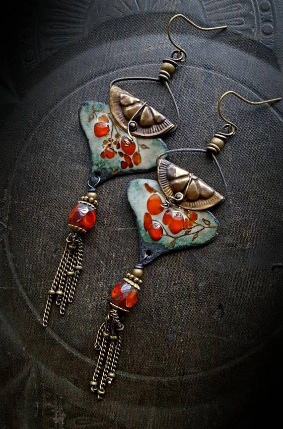 Enameled Charms Enameled Earrings Asian Flowers Brass