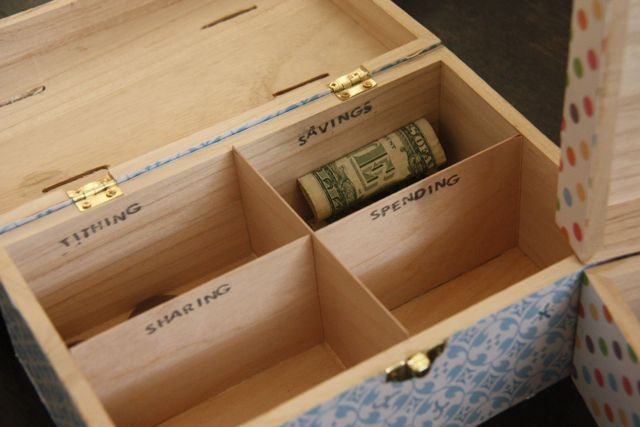 Kids bank box: I love this idea....now how do I get them to keep their paws off the loot and not mix things up...hummmm