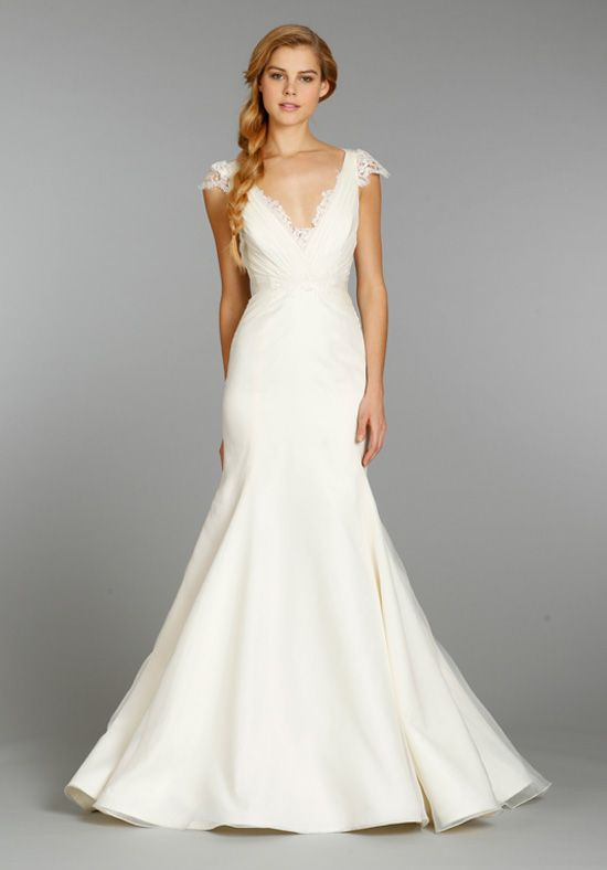Ivory fit to flare organza bridal gown with ruched V neckline, lace capsleeves and lace keyhole back | 1357 - May from Jim Hjelm Blush