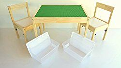 Special edition LEGO table – LEGO-Compatible Ikea childrens table and chairs set with storage bins