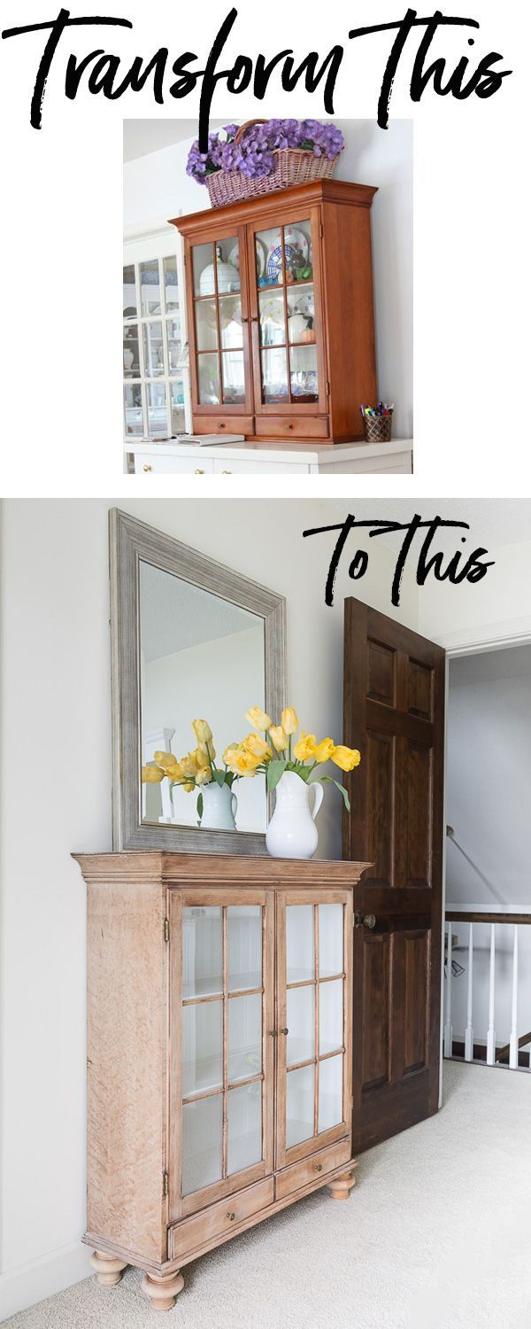 Hand me down furniture makeover that doesn't require paint. It uses simple-to-add wooden bun feet. Easy furniture makeover.