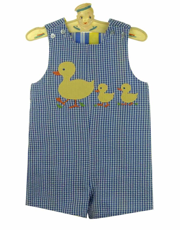 NEW Bailey Boys Royal Checked Reversible Shortall with Appliqued Ducks $60.00
