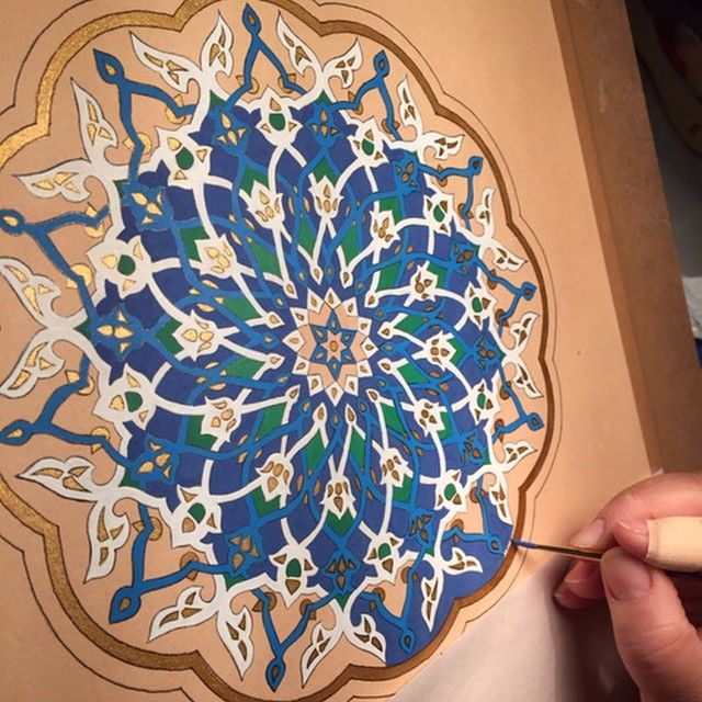 Biomorphic Persian pattern from Yazd which has just been painted by Wafa Sarwani.