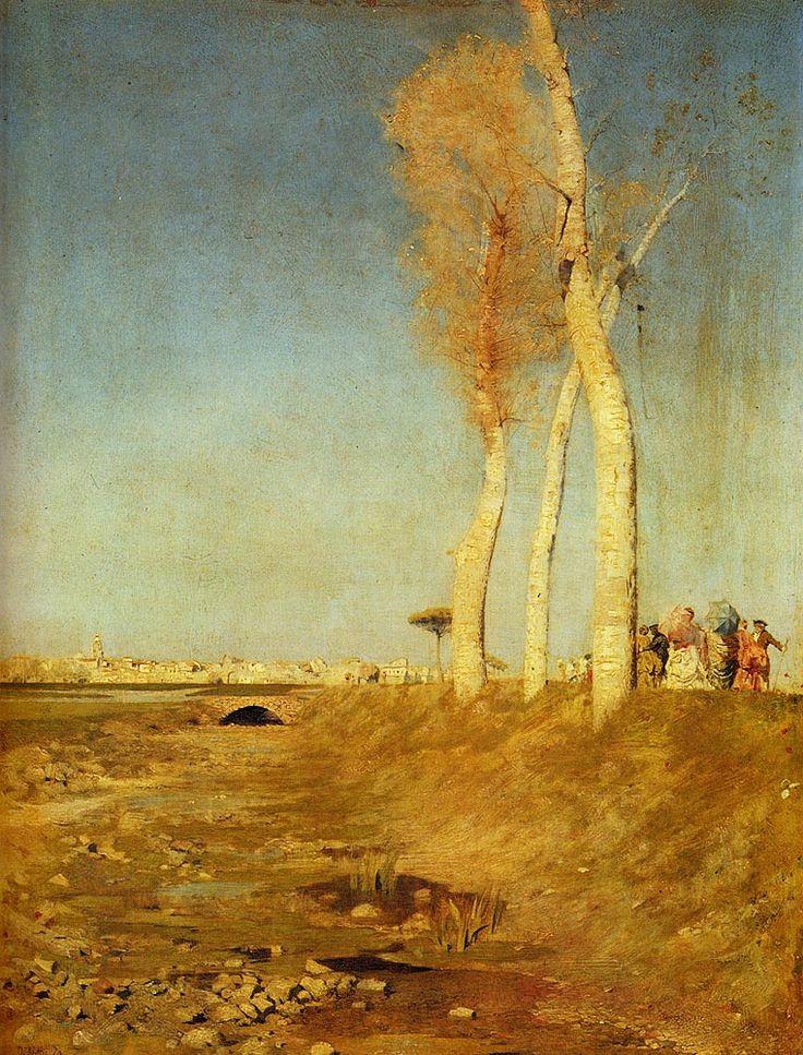 Giuseppe De Nittis (It. 1846-1884), Peupliers, huile sur panneau, 32,4 x 40,7cm, collection privée