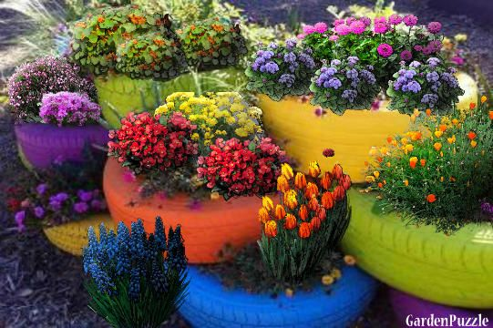 colorful tire planters | Tire planters - GardenPuzzle - online garden planning tool