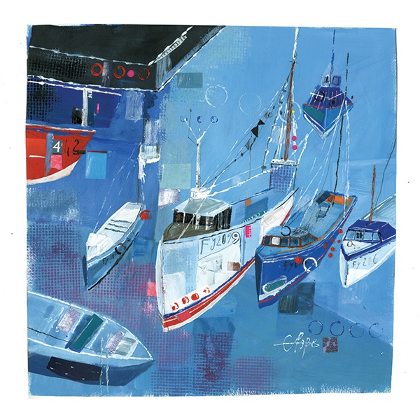 #Cornish #Boats by Liz Pope. Catalogue code LP38. http://www.thewhistlefish.com/?artistcollection=Prints,Liz+And+Kate+Pope