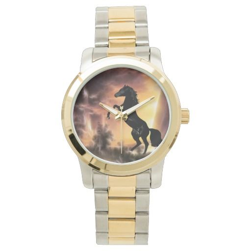 Stallion rearing wrist watch