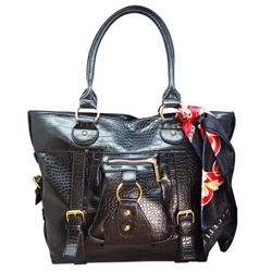 Ronella Lucci for Vecceli Italy Crocodile Embossed Black Tote Bag