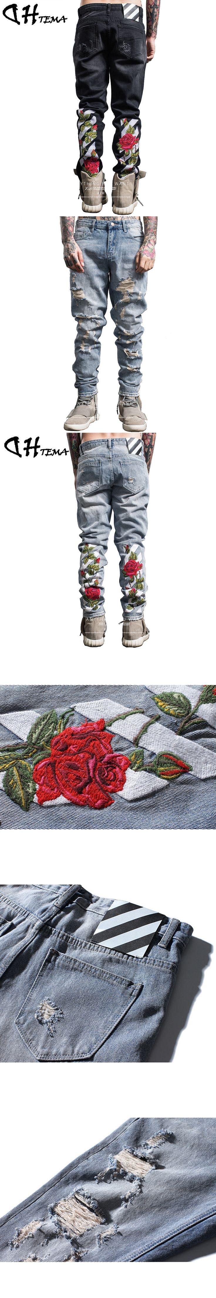 DHTEMA 2017 Embroidery Hip Hop Jeans Men Brand Clothing Male Black Denim Pants Top Quality Casual Denim Trousers