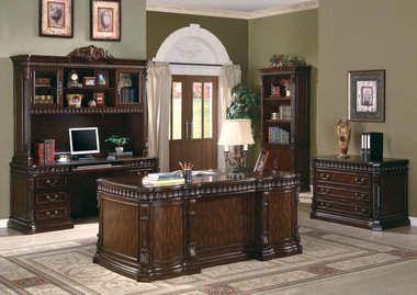 traditional carved desk furnishing elegant wood home office furniture set in dark walnut finish 4822