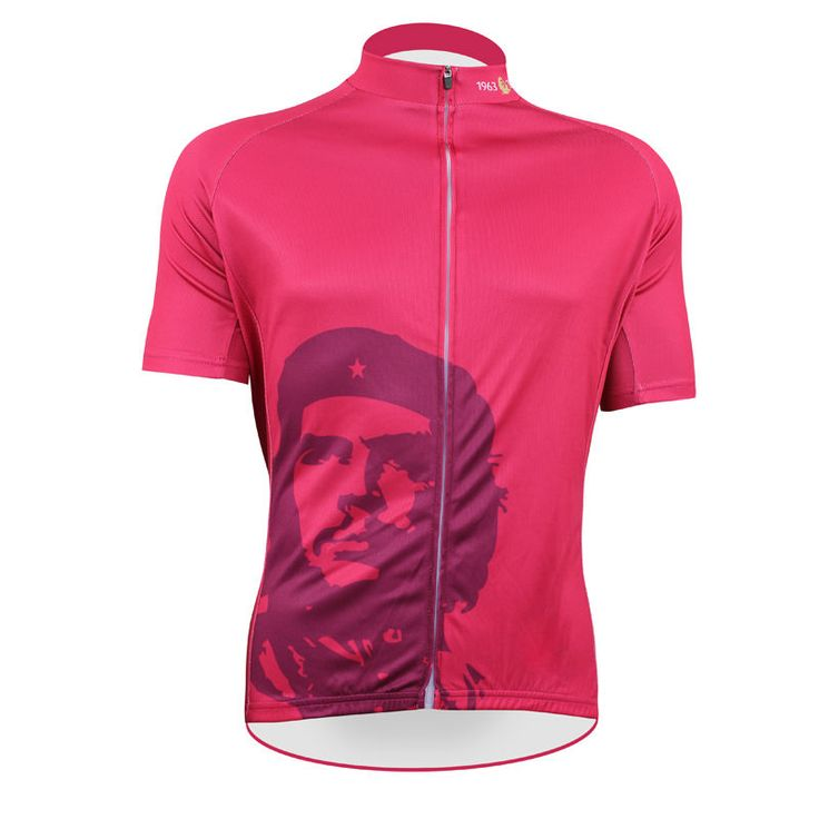 Cycling shirt bike equipment Men top Sleeve Cycling Jersey Che Guevara Breathable Bike Shirt Rose Red Cycling Clothing Number 50 #Affiliate