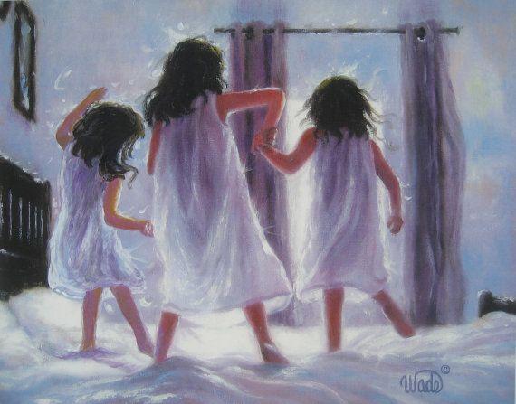 Three Sisters Jumping On Bed Art Print, three girls bedroom pink wall art decor, three brunettes, three best friends, Vickie Wade art