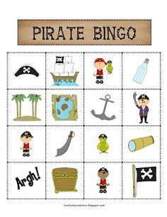 ourhomecreations: Free Pirate themed Bingo cards