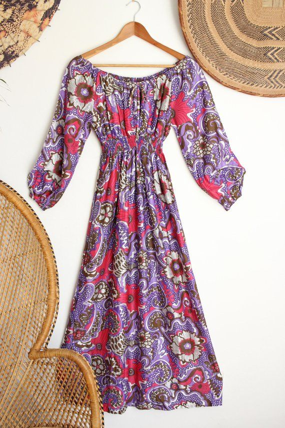 907359b837ac Vintage purple pink brown psychedelic floral boho 70s gypsy off shoulder  midi maxi dress S in 2018