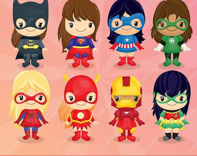 Superhéroe niñas Imágenes Prediseñadas, imágenes prediseñadas de superhéroe, chicas gráfico, cómic Imágenes Prediseñadas, imágenes prediseñadas de súper héroe, 300ppi - descarga inmediata - - LN068 -