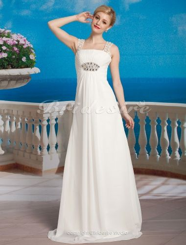 Sheath/ Column Chiffon Floor-length Square Wedding Dress - $149.99