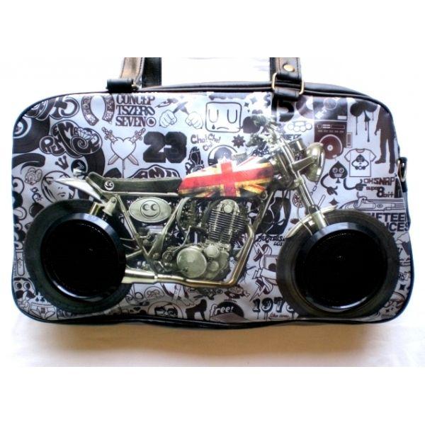Borsa tracolla stereo con casse - immagine di moto