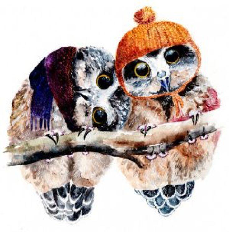 Winter Owls by AnnaShell on @DeviantArt