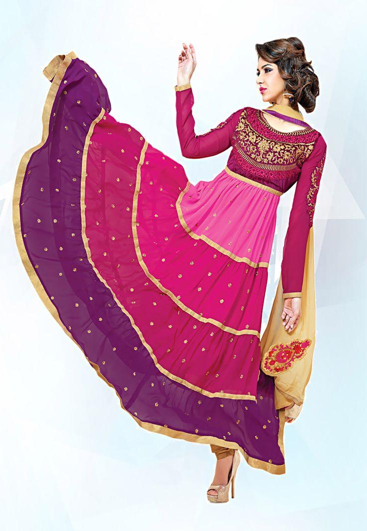 Fuchsia #Pink Velvet and Faux Georgette #Anarkali Churidar Kameez Online Shopping: KGA22