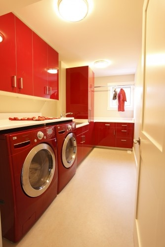 contemporary laundry room-lovely red
