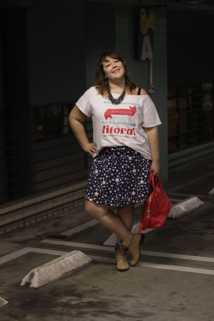 look plus size t-shirt e saia