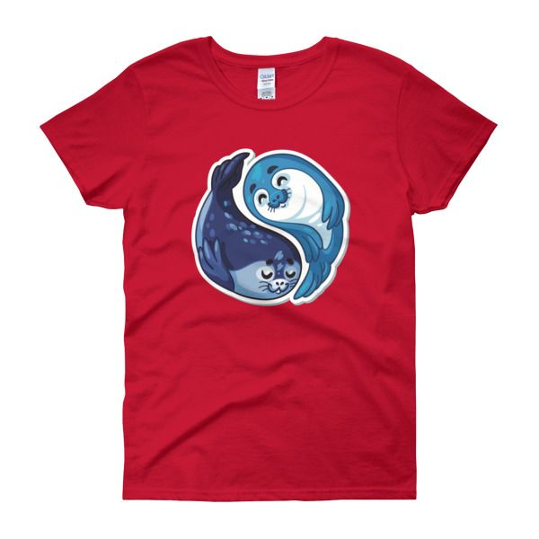Seal Yin Yang Womens T-Shirt – Happy Seal Collection – Gildan 5000L  Product: Gildan 5000L Ladies Heavy Cotton Short Sleeve T-Shirt  A heavy cotton, classic fit ladies scoop neck t-shirt. • 100% cotton jersey • Pre-shrunk • Near-capped sleeves • Mid-scoop neck • ½ rib double needle collar • Missy contoured silhouette with side seam