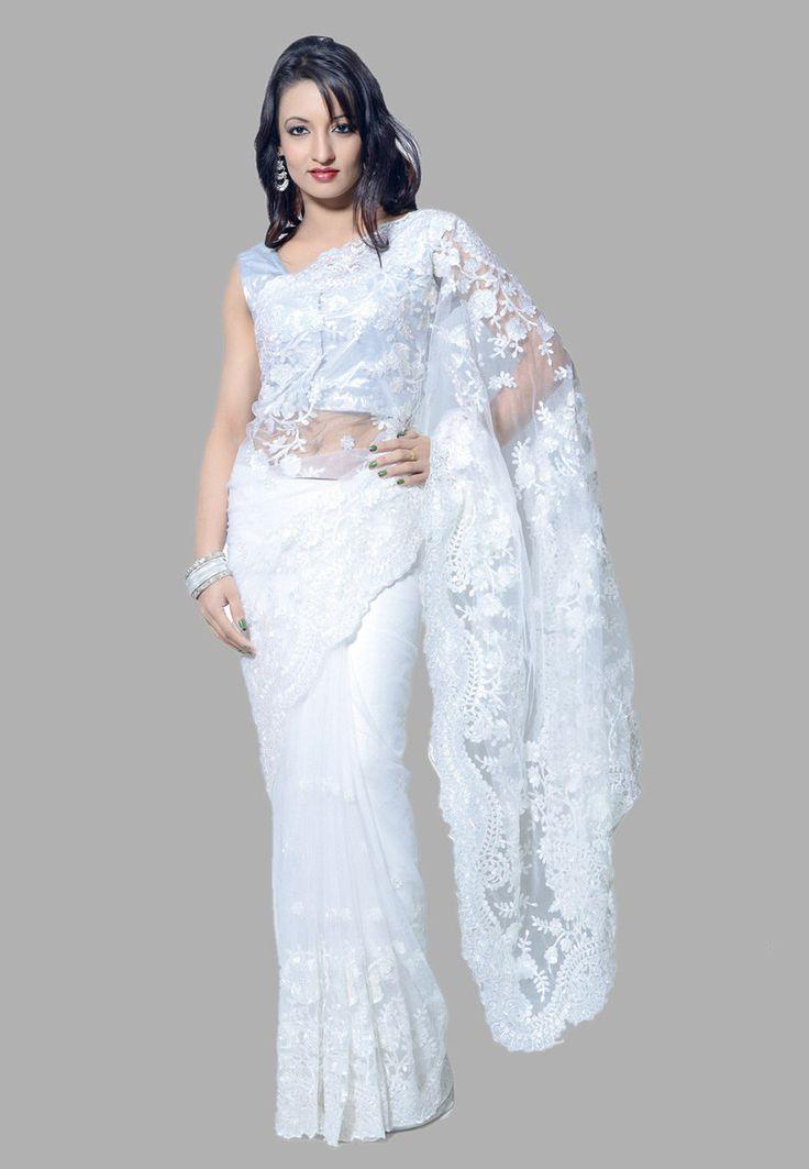 White Saree Tamanna In Veeram: Buy White Net Saree With Blouse Online, Work: Embroidered