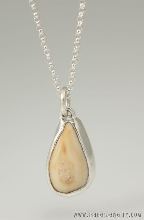 Simple Silver Bezel Elk Ivory Pendant