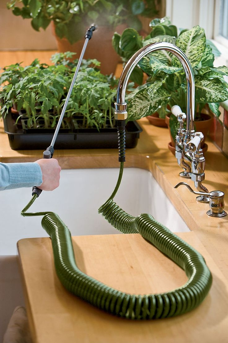Indoor Plant Watering Hose - Mini Coil Indoor Garden Hose + Sprayer