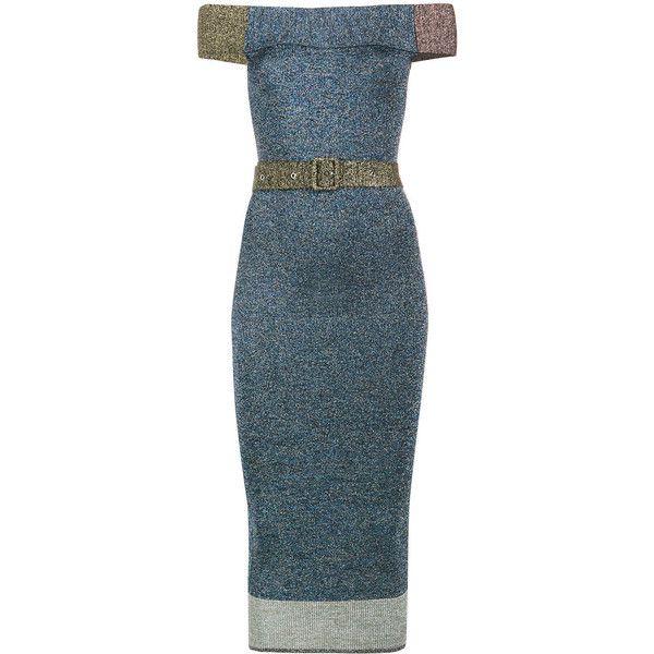 Christopher Kane lurex off-shoulder dress (4.125 RON) ❤ liked on Polyvore featuring dresses, blue, off the shoulder cocktail dress, christopher kane dress, metallic cocktail dress, christopher kane and blue cocktail dresses