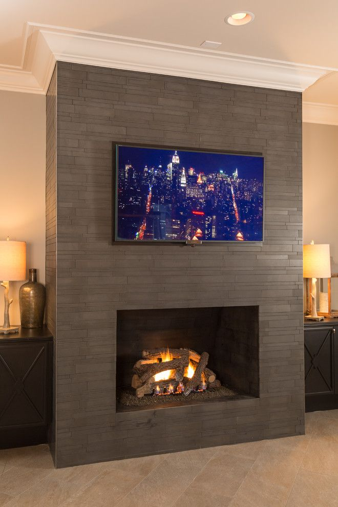 Flat screen wall mount spaces with contemporary fireplace custom home designbuild fireplace flat - Contemporary wall mount fireplace ...