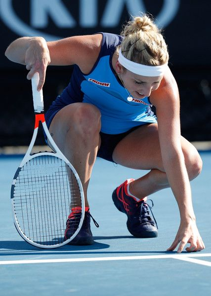 Timea Bacsinszky of Switzerland questions a line call in her first round match against Camila Giorgi of Italy on day two of the 2017 Australian Open at Melbourne Park on January 17, 2017 in Melbourne, Australia.