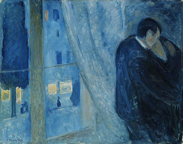 Edvard Munch, Il bacio con la finestra, 1892. Olio su tela, 73×92 cm. National museet for kunst, Oslo