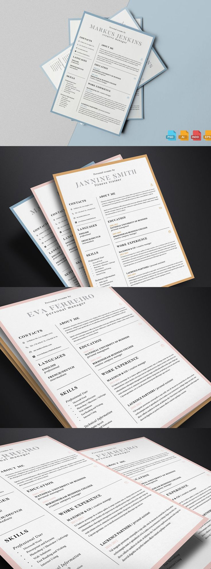 Clean Resume Template AI EPS INDD PSD