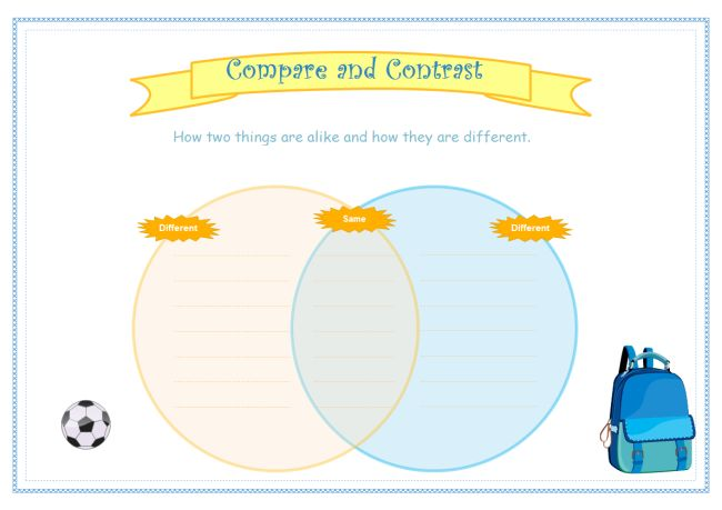 Printable compare and contrast graphic organizer available to download. Venn diagram for compare and contrast.