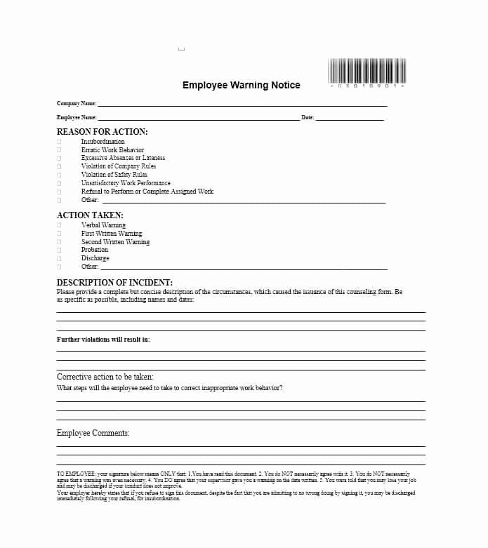 Employee Warning Notice Form New Employee Warning Notice Form In 2020
