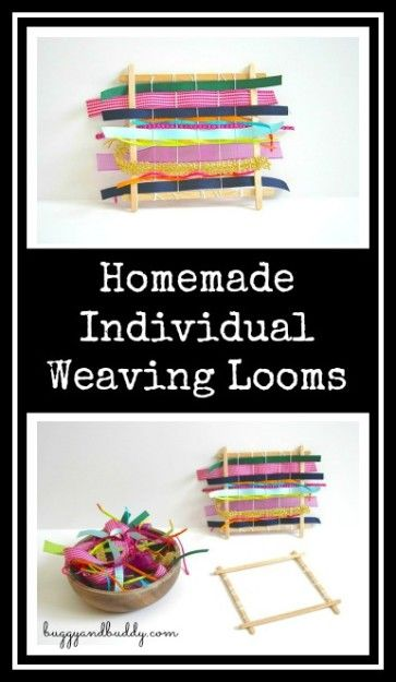 Homemade Individual Weaving Looms~ Weaving w/ Ribbon and Fabric Scraps: Perfect for working on patterns, fine motor skills, and hand-eye coordination!