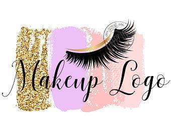 DIGITAL Diseño de logotipo personalizado, logotipo las pestañas, ojos pestañas belleza insignia, logo de maquillaje, diseño de logotipo de confeti rosa brillo, latigazo de logotipo acuarela