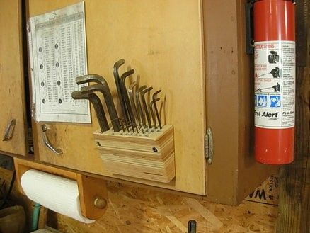 Allen Wrench Holder by Jim Jakosh -- Homemade Allen wrench holder constructed from maple plywood. Holder mounts to a cabinet door and tilts towards the user for added convenience. http://www.homemadetools.net/homemade-allen-wrench-holder